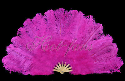"Hot pink 27"" x 53""  Marabou & Ostrich feathers fan With carrying case"
