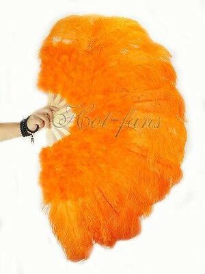 "orange 27"" x 53""  Marabou & Ostrich feathers fan With carrying case"