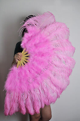 "Pink 27"" x 53""  Marabou & Ostrich feathers fan With carrying case"