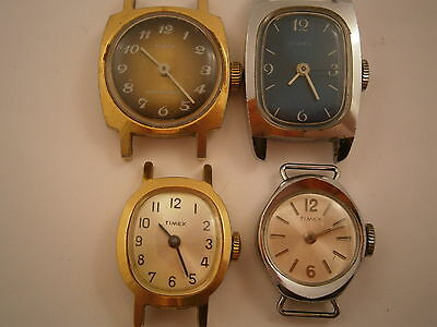 4 vintage timex watches for repairs or restoration.