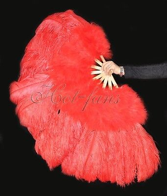 "Red 27"" x 53""  Marabou & Ostrich feathers fan With carrying case"