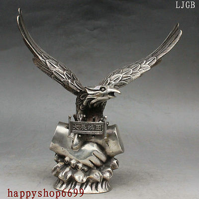 "13"" Chinese Silver Spread Wings Eagle King Bird Bless cooperate Success Statue"