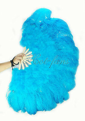 "turquoise 27"" x 53"" Marabou & Ostrich feathers fan With carrying case"