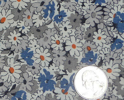 Vintage 1930 Cotton Feedsack Fabric Floral Gray BlueWhite orange great for quilt