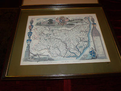 framed map of suffolk, Thomas Moule