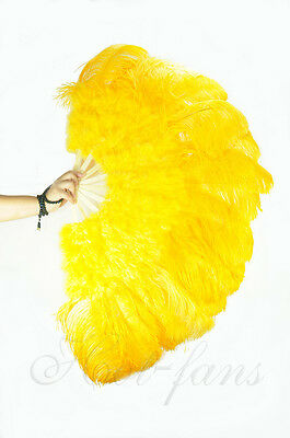 "yellow 27"" x 53"" Marabou & Ostrich feathers fan With carrying case"