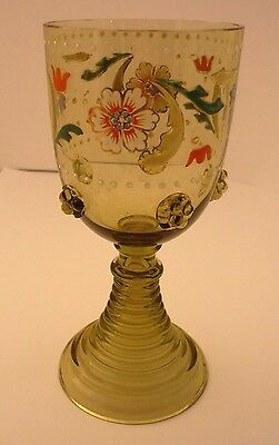 Moser Enameled Green  Glass Goblet In Perfect Condition