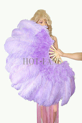 "aqua violet 27"" x 53"" Marabou & Ostrich feathers fan With carrying case"