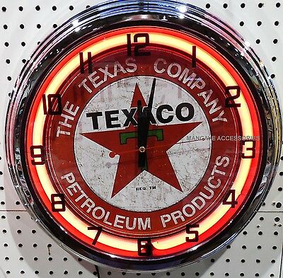 """17"""" TEXACO Petroleum Products Sign Gasoline Gas Station Neon Clock"""
