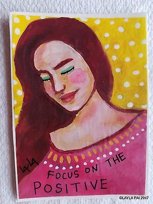 Abstract Folk Art Focus on the Positive ORIGINAL ACEO Painting Girl Woman