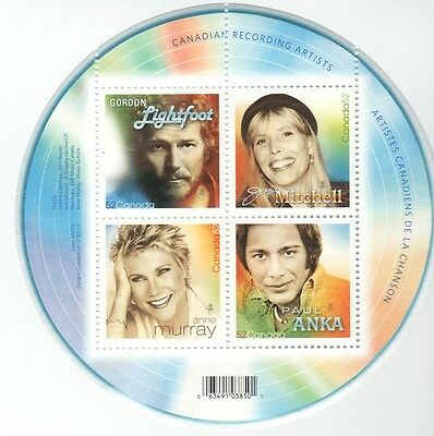 Canadian Recording Artists 4 stamps   souvenir Sheet Canada mint