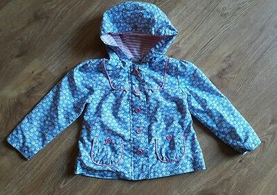 Girls Blue Daisy Spring/Summer Lined Coat Jacket 18-24 Months 1.5-2 Years
