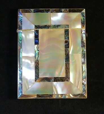 Absolutely Beautiful Mother of Pearl and Abalone Card Case c1920 Art Deco Design