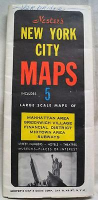 NESTER'S MAP & GUIDE CORPORATION NEW YORK CITY STREET MAP 1960s VINTAGE