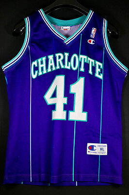 NEUW Rare Champion Glen Rice Hornets Gr XL L SZ 44 NBA Trikot Basketball Jersey
