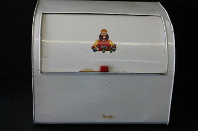 vintage mid century metal curved lid bread box ethnic woman decal