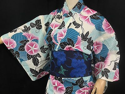 浴衣 Yukata japonais - Floral Bleu  - Import direct Japon 1424