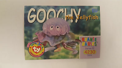 TY Beanie Baby collector card Goochy the Jellyfish Series 2 EU