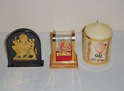 3 Hindu Items Ganesh Under  A Plastic Dome Ganesh Ornamental Candle & Lachmi