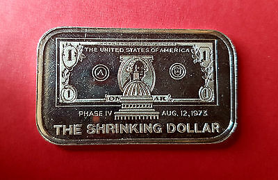 "VINTAGE 1 oz GARDEN STATE MINT  "" THE SHRINKING DOLLAR""  SILVER BAR VERY RARE"