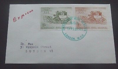GB-1971-Postal Strike Emergency Mail Service-1S and 2S Cover-London