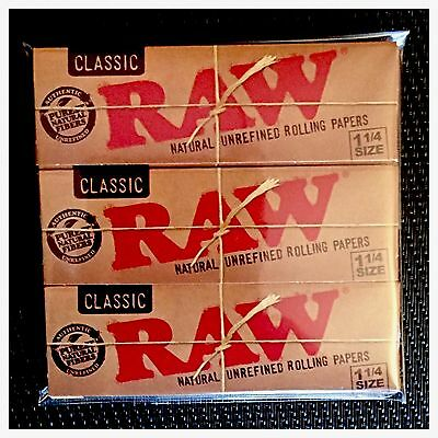 3 Pack Genuine Raw Classic Rolling Papers (1 1/4 Size)