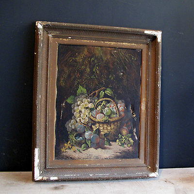 Antique Oil Painting of still Life in ornate Wood & Gilt Gesso Frame19th Century