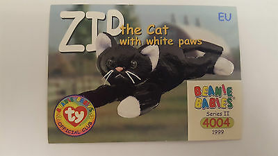 TY Beanie Baby collector card Zip the cat with white paws Series 2 EU