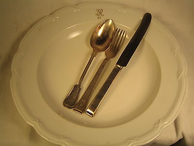 german plate , large and 3 piece silverware  div 65