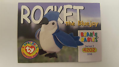 TY Beanie Baby collector card Rocket the bluejay Series 1