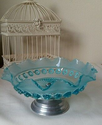Vintage DAVIDSON Glass Turquoise comport tazza Blackberry Prunt dish