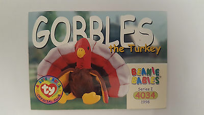 TY Beanie Baby collector card Gobbles the Turkey Series 1
