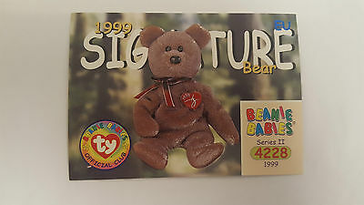 TY Beanie Baby collector card 1999 Signature bear (2) Series 2 EU