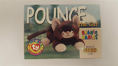 TY Beanie Baby collector card Pounce the cat Series 1