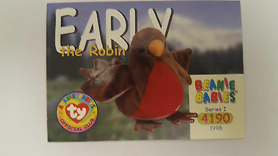 TY Beanie Baby collector card Early the robin Series 1