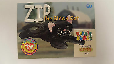 TY Beanie Baby collector card Zip the black cat Series 2 EU