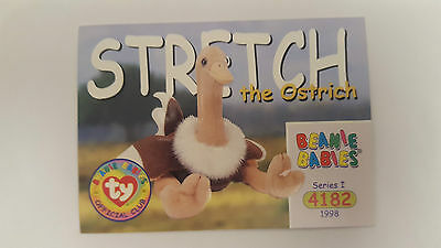 TY Beanie Baby collector card Stretch the Ostrich series 1