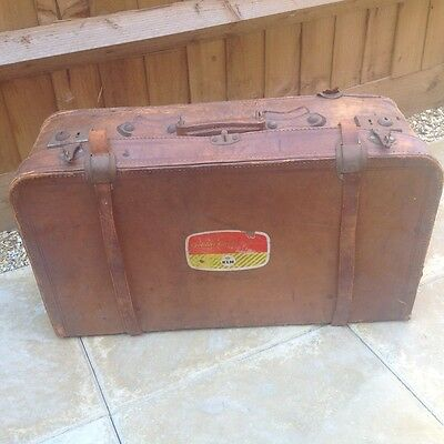 Antique Tan Leather Suitcase with KLM Golden Service Label