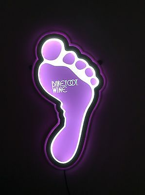 Barefoot Wine Foot Shaped Purple LED Wall Sign NEW