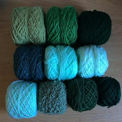 Over 250g Bundle Wool Green Mixed Bag, Double Knitting/Crochet, Project/Craft