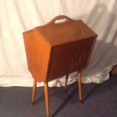 Vintage Retro 1950s Mid Century Sewing Box, Wooden Craft Box Chinese Carving