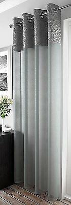 Crushed Silk Silver Grey Border Chrome Eyelet Grey Voile Net Curtain Panel