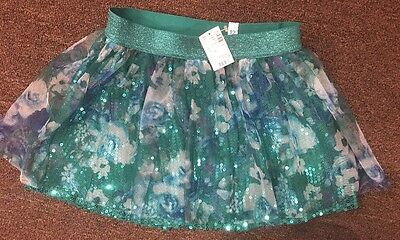 Justice Brand Girl's Sequin & Floral Tulle Overlay Skirt/Skort Size 12 NWT