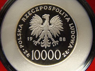 1988 POLAND ZLOTYCH 10000 Silver Proof visit of Pope John Paul II - LOW MINTAGE