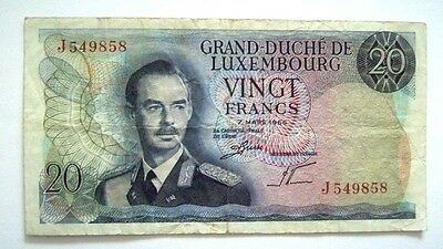 Banknote Luxembourg 20 Francs 07.03.1966 Good Condition