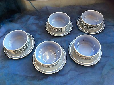 Vintage Hornsea England5  Soup Bowls And Plates ~ Blue Tapestry Pattern