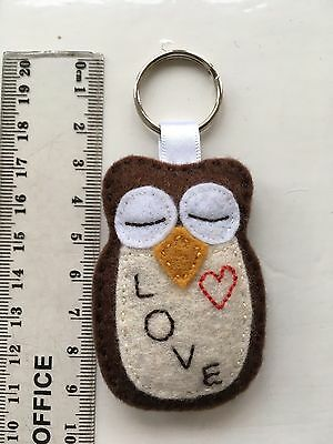 Super Cute 'WISE LOVE OWL' !! Keyring or Bag Tag (Red Heart)