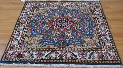 5x4'8 Fine Rare Almost Square Genuine Persian Kerman Hand Knotted Wool Area Rug
