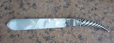 1898 English Hallmarked Silver & Mother Of Pearl Letter Opener/ Page Turner