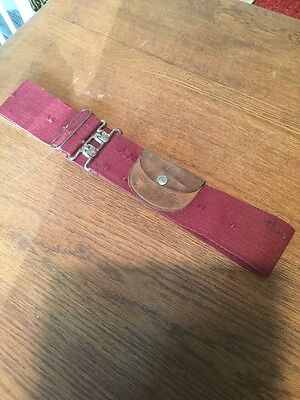 Military burgundy stable belt With Leather Pocket Various Holes Possible Badges